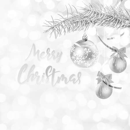 Christmas and New Year festive bokeh background with hand lettering text Фото со стока