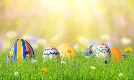 Easter colorful card with eggs in grass, holiday background for your design.