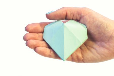 tiffany blue: Tiffany blue paper heart Stock Photo