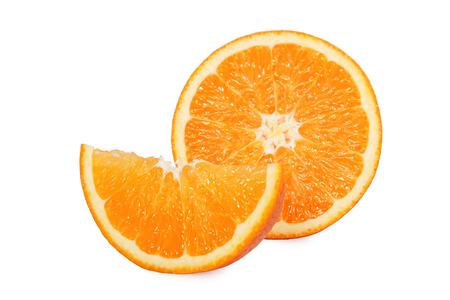 sliced orange: Sliced orange fruit isolated on white background Stock Photo