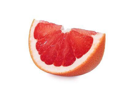 Fresh Pink Grapefruit Aislado En Blanco Foto de archivo