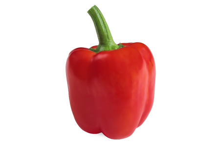 bell pepper: Single red bell pepper isolated on white Stock Photo