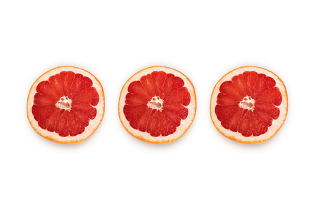 Sliced half of pink grapefruit isolated on white background. Top view Standard-Bild