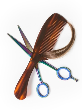 comb: Hairdresser scissors and comb on white, high angle view Stock Photo