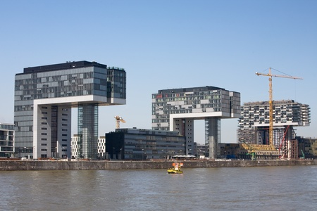 New office buildings, Crane Houses, Cologne, Rhineland, Germany Stock Photo