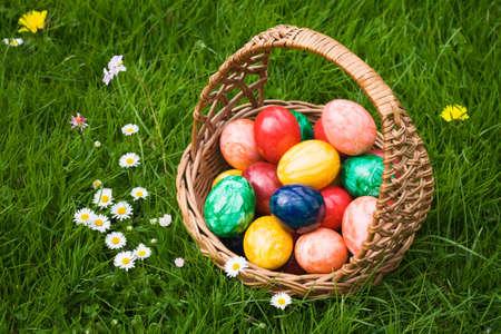 Basket full of Easter eggs in grass Stock Photo - 9422127