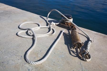 bollard: Mooring bollard and rope with spring, Mallorca
