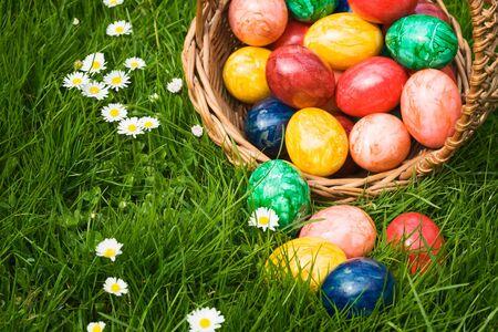 Basket full of Easter eggs in grass Stock Photo - 9465346