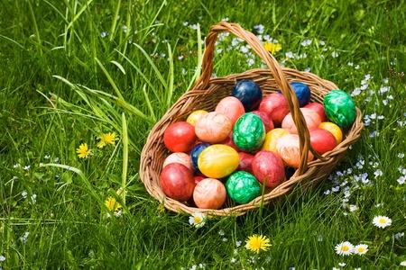 Basket full of Easter eggs in grass photo