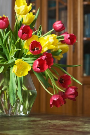 Tulips on a Table in a Living Room