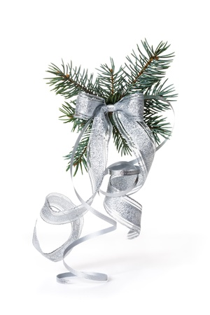 silver: Blue Spruce Branch with Silver Bow