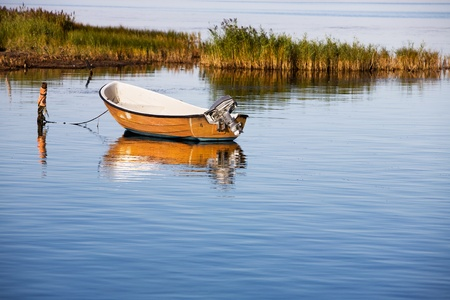 Rowboat with outboard motor, Baltic sea, Ruegen island