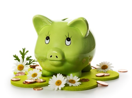 Conserve the environment and save money, green piggy bank between daisies and coins on flower shaped felt meadow