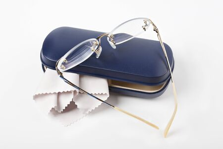 progressive: Spectacles , cleaning cloth and blue case