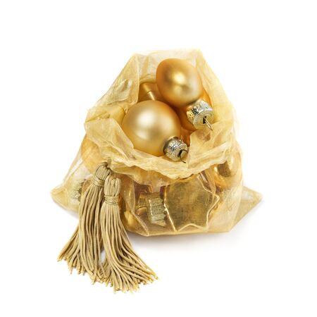 Organza bag with Christmas toys photo