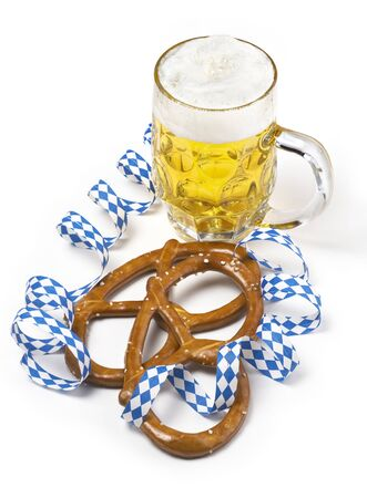 pretzel: Beer and salted pretzel on white Stock Photo