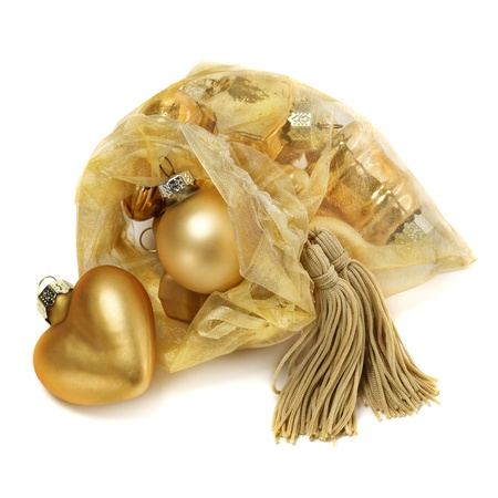 yellow tassel: Organza bag with Christmas toys