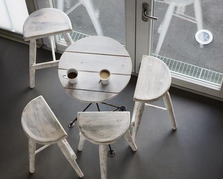 angle bar: Table and chairs, high angle view