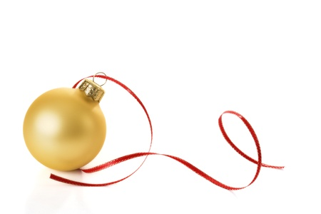 bauble: Gold Christmas sphere with red streamer