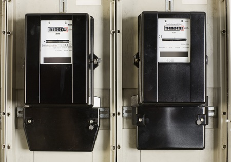 Two change electricity meters in the cellar Stock Photo