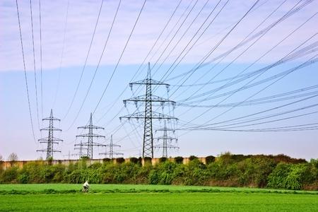 現代高圧送電線 写真素材