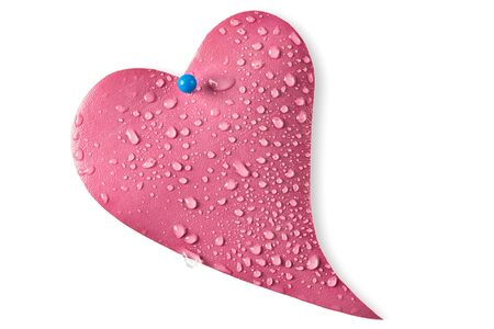 Water drops on leather pink heart photo