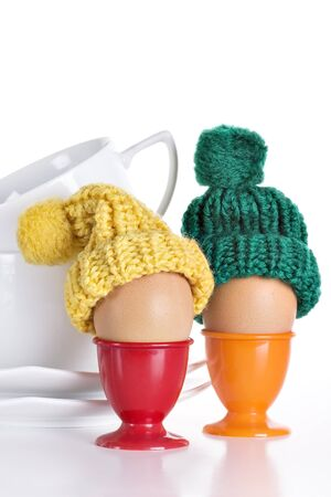 eggcup: Breakfast Eggs in a Eggcup  on white Stock Photo