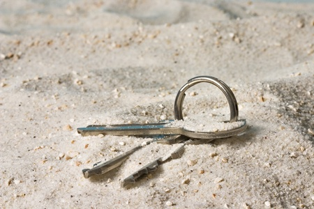 Keys on a key ring lost in the sand