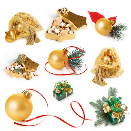 Christmas presents and decoration in gold, collection on white background Stock Photo