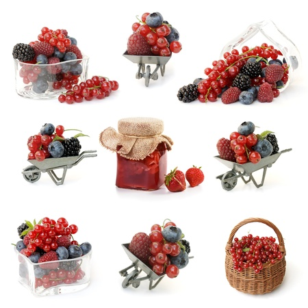 Berries in heart shaped bowl, berries in wheelbarrow, strawberry jam, collection on white background
