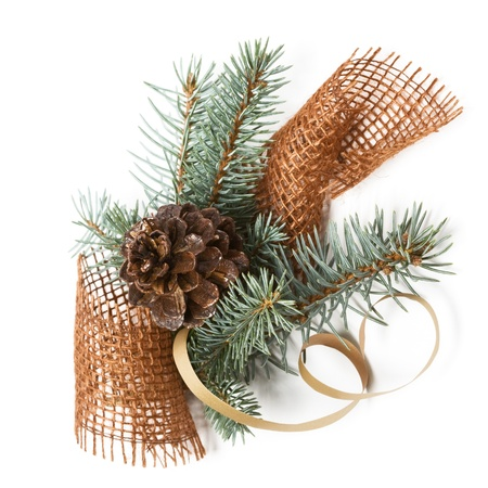 Christmas decoration with blue spruce, cone and jute photo
