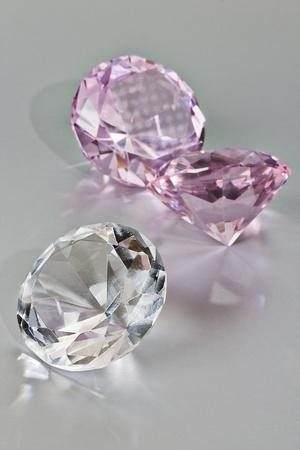 wishes romantic: Diamond on silver background Stock Photo