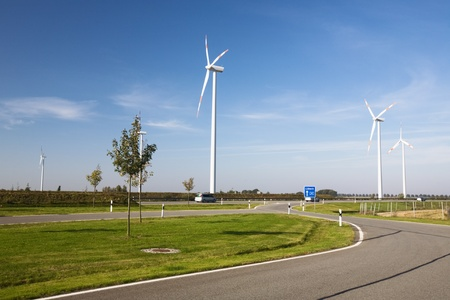 Modern landscape with wind turbines and highway, North Germany Stock Photo - 10873774