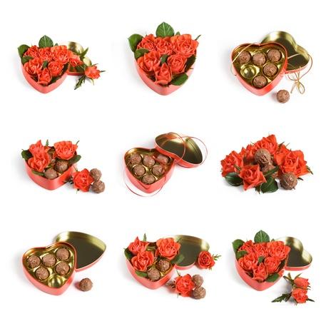 赤いバラと白い背景の上のバレンタイン コレクション トリュフ