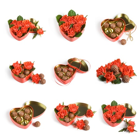 Red roses and truffles, Valentine collection on white background