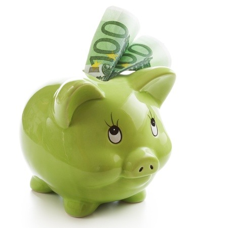 Two hundred Euros in a green piggy bank