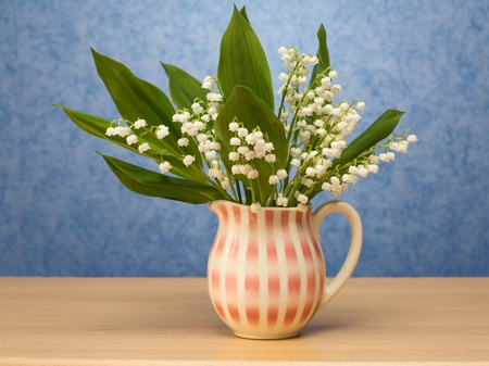 still lifes: Traditional Jug with Lilly of the Valley on a sideboard, blue wallpaper on background Stock Photo
