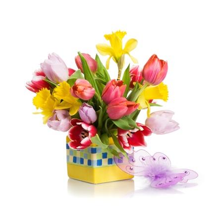 Bloempot met lente bloemen en vlinder op witte achtergrond Stockfoto