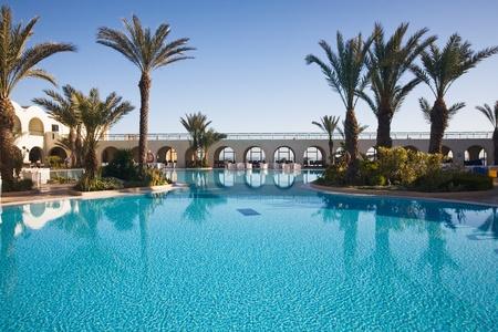 hotel balcony: Swimming pool at a tourist resort, Djerba, Tunisia, Africa