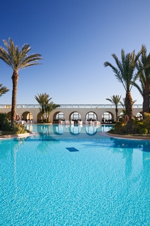 Swimming pool at a tourist resort, Djerba, Tunisia, Africa
