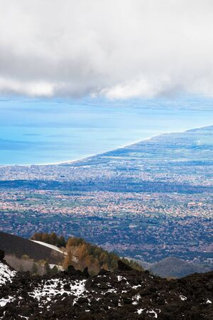 High angle view of Catania, Mount Etna, Sicily, Italy photo