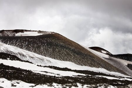 etna: Silvestri crater of Etna with snow, Sicily, Italy