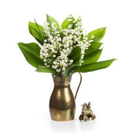 Old cooper jug with Lilly flowers on white background Banco de Imagens