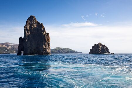 aeolian: Aeolian Islands, two cliffs near Vulcano Island, Tyrrhenian Sea, Sicily, Italy