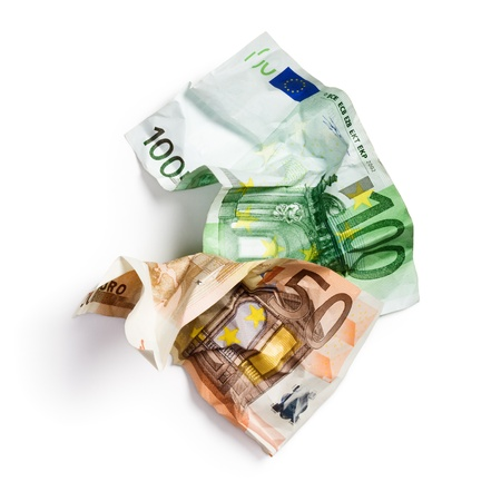 2 50: Fifty and hundred crumpled euro banknotes on white background
