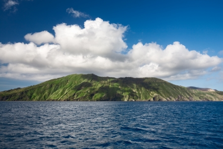 Cloud over island, Aeolian Islands, Vulcano, Tyrrhenian Sea, Sicily, Italy Stock Photo