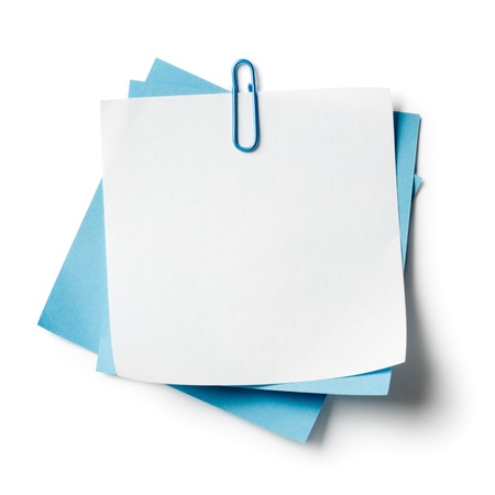 pad: White and blue note papers with paperclip on white background Stock Photo