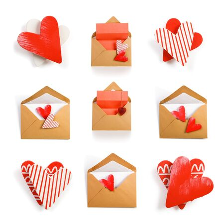 Envelopes, hearts and notepads, Valentine collection on white background photo