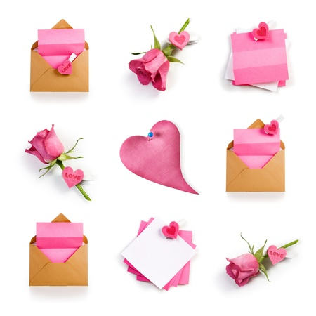 Roses, hearts, envelopes and notepads, romantic Valentine collection on white background photo
