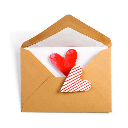 Brown Envelope with two hearts on white photo